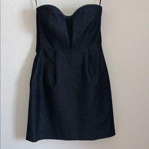 RAG & BONE dark denim & suede 2 strapless dress